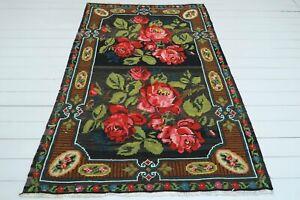 """Anatolia Kilim Karabag Rug Floral Designed Rug Floor Rug Wool Rugs Kelim 56""""X84"""""""