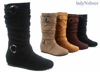 NEW Women's Round Toe Flat Pull Up Or Zip Up Slouchy Mid Calf Boots Size 6 - 10