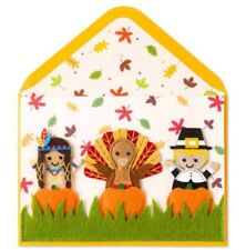 PAPYRUS THANKSGIVING CARD WITH 3 FINGER PUPPETS  HOLIDAY TURKEY