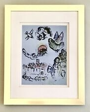 """Marc Chagall 1963 Original Lithograph Framed """"Nocturne at Vence"""" (M400) SALE"""