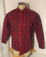 Sports Afield Mens Medium Insulated Red Quilted Flannel Long Sleeve Shirt
