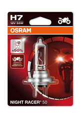 New! Osram H7 Night Racer 50 Motorbike Headlight Bulb ECE (x1) +50% Brighter!