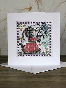 Completed Cross Stitch Cat And Bird  Christmas  Card 5.5x5.5inch