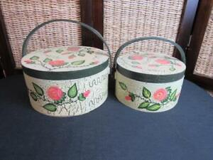 Decorative Pink Rose Floral Wood Nesting Round Boxes