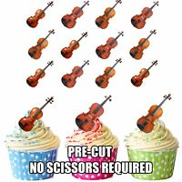 PRECUT Violins Violinist  12 Edible Cupcake Toppers Birthday Cake Decorations