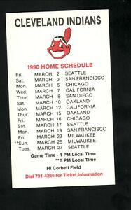 Cleveland Indians--1990 Spring Training Pocket Schedule