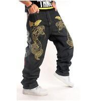 Men's Skate Baggy Loose embroidery Rap Hip Hop Jeans Denim Trousers Pants CKU7