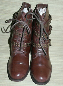 WOMENS BULLET MAROON LACE UP/ZIP SYNTHETIC LOWER CALF COMBAT BOOTS MIX SIZES