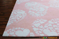 New Brand PB Little Heart 5' x 8' Pink Girls Kids Style Handmade Rugs & Carpet