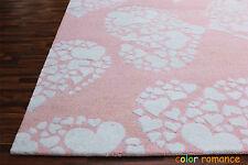New Brand PB Little Heart 5' x 8' Pink Girls Kids Style Handmade Rugs & Carpet