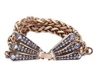 DESIGNER CRYSTAL RHINESTONE Silver Gold Chunky Chain Vintage Statement Bracelet