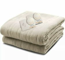 Biddeford QUEEN Size Electric Heated Knit Fleece Blanket Taupe Beige Soft Cozy B