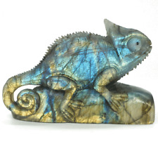 "Chameleon Statue Natural Labradorite Lizard Figurine Crystal Healing Decor 4.33"""