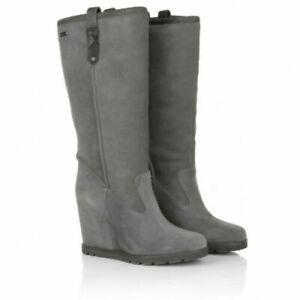 UGG® AUSTRALIA SOLEIL GREY SUEDE SHEARLING BOOTS UK 6.5 EUR 39 USA 8 RRP £250