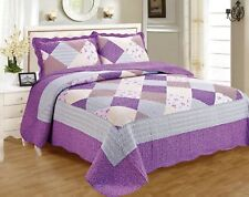 100% Organic Cotton Quilt Set 3PCs Floral Bedspread Lightweight Bed Coverlet
