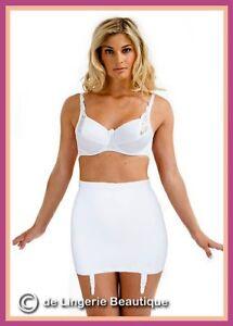 Seamless White Ladies Roll On Suspender Girdle, Corset, Size 8-24