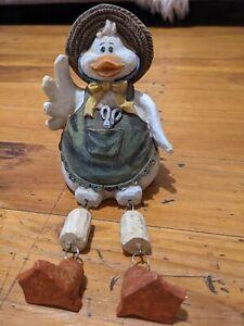 Country Mother Duck Pinny Hat Shelf Sitter Dangling Legs Ornamental