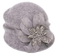 Womens Fashion Cloche Hat w/ Floral Bow - Grey
