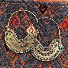 Tribal Half Moon Wire Hoop Boho Earrings in Brass