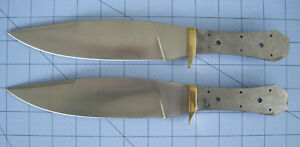 """2 Coffin Bowie Knife Blanks Full Tang Solid Brass Guards 12"""" Long...Blade 7 1/2"""""""