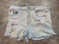 American Eagle Womens 12 Super Stretch Hi Rise Shortie Distressed denim shorts