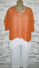 Barbara Speer: Lagenlook Strick-Jacke Kurzarm Taschen orange EG anstatt 179,90