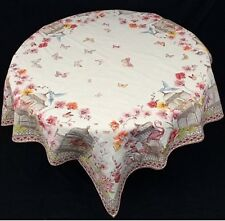 "French Provence Matelassé Tablecloth, Jardin Ecru, 56"" x 56"" Cotton/Poly Blend"
