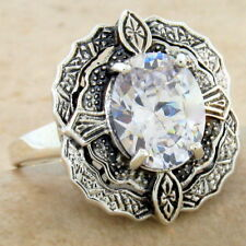 VICTORIAN ANTIQUE STYLE 925 SILVER 5 CT CUBIC ZIRCONIA RING SIZE 8,        #1056