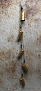 Rustic Cow Bells String of 5 with Rope & Beads Lovely Sound