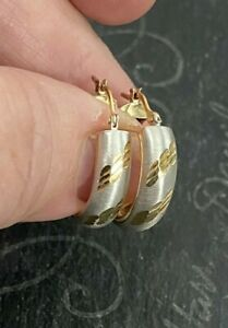 14K Yellow and White Gold Round Hoop Earrings, 3.0 Grams, Pre-Owned