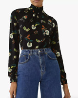 WAREHOUSE Japanese Flower Shirred High Neck Top/Blouse Sizes 6-8-10-12-14