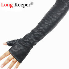 Sm/ De77258 Retro Lederhandschuhe Ellenbogen fingerlose Mode