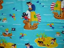 CLEARANCE FQ CHILDREN PIRATES SHIPS TREASURE ISLAND SEA SKULL CROSSBONES FABRIC