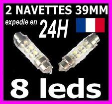 2 AMPOULE LAMPE NAVETTE A 8 LED 39MM C5W PLAFONNIER PLAQUE COFFRE leds xenon 12V