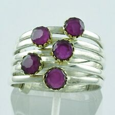 RUBY AGATE STONE HIGH QUALITY ANTIQUE DESIGN 925 STERLING SILVER STACKABLE RING