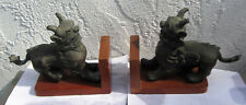 Old Chinese Pair Bronze Foo Dogs Mounted as Book Ends Sculpture