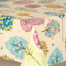 Plain Multi Coloured Trees Pvc Vinyl Table Cloth Vintage Pink Red Children Play