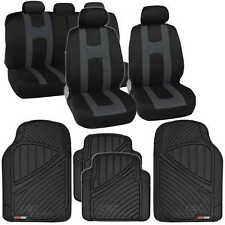 Complete Set Charcoal Stripe Car Seat Covers / FlexTough Mats Black Front & Rear