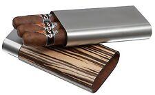 Stainless Steel 3 Finger 56 Ring Gauge Cigar Case Holder Wrapped in Zebra Wood