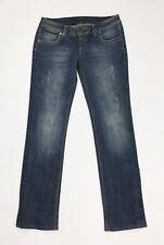 Denim jeans donna usato slim stretch W28 tg 42 strappi destroyed denim T3440