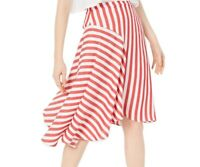 Lucy Paris Women Maya Skirt Red White Size Small S Asymmetrical Striped $79- 228