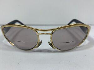 Gucci GG2381/S 032 Sunglasses Black Gold Wrap Sport Frames w/ Brown Lenses 125