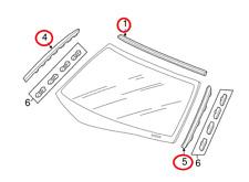 HONDA DC5 Integra Acura RSX MOLDING ASSY FR WINDSHIELD Upper mall SIDE RH+LH Set
