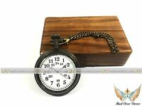Vintage Brass Marine Nautical Pocket watch with Wooden Gift Box-Vintage Style