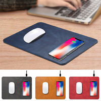 For iPhone XS Max XR 8 Plus Qi Wireless Charger Fast Charging Leather Mouse Pad