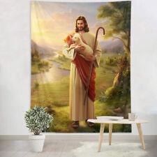 Jesus Christ Shepherd Cute Lamb Tapestry Wall Hanging Living Room Bedroom Dorm