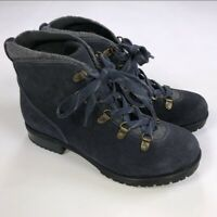Clarks Collection Soft Cushion Suede Hiking Ankle Boots Blue/Grey US 9 W