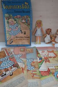 vintage 1950s Milton Bradley Animated GOLDILOCKS DOLL & 3 BEARS Story book BOX
