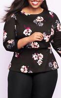 Talbots Woman Plus Size Black Floral Peplum Top Blouse Spring Summer 2X