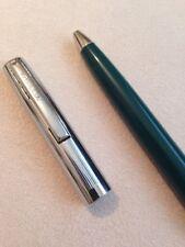 VINTAGE SHEAFFER GREEN & CHROME BALLPOINT PEN-USA-BLACK INK-NEW OLD STOCK.